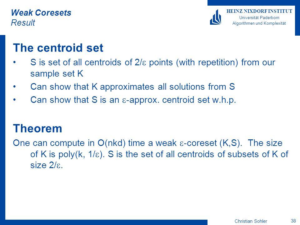 Christian Sohler 38 HEINZ NIXDORF INSTITUT Universität Paderborn Algorithmen und Komplexität Weak Coresets Result The centroid set S is set of all cen