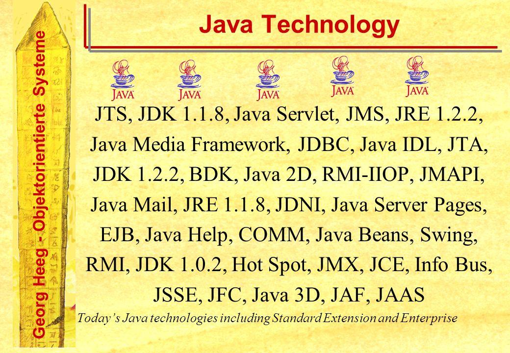 Georg Heeg - Objektorientierte Systeme Java Technology JTS, JDK 1.1.8, Java Servlet, JMS, JRE 1.2.2, Java Media Framework, JDBC, Java IDL, JTA, JDK 1.2.2, BDK, Java 2D, RMI-IIOP, JMAPI, Java Mail, JRE 1.1.8, JDNI, Java Server Pages, EJB, Java Help, COMM, Java Beans, Swing, RMI, JDK 1.0.2, Hot Spot, JMX, JCE, Info Bus, JSSE, JFC, Java 3D, JAF, JAAS Todays Java technologies including Standard Extension and Enterprise