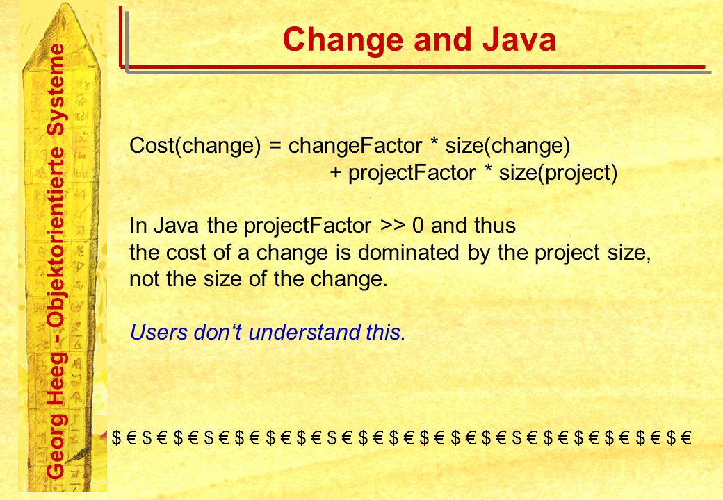 Georg Heeg - Objektorientierte Systeme Change and Java Cost(change) = changeFactor * size(change) + projectFactor * size(project) In Java the projectF