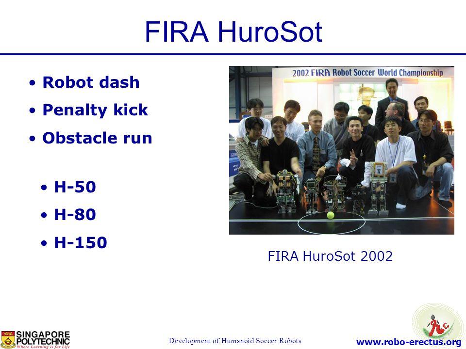 www.robo-erectus.org Development of Humanoid Soccer Robots FIRA HuroSot 2002 Robot dash Penalty kick Obstacle run H-50 H-80 H-150 FIRA HuroSot