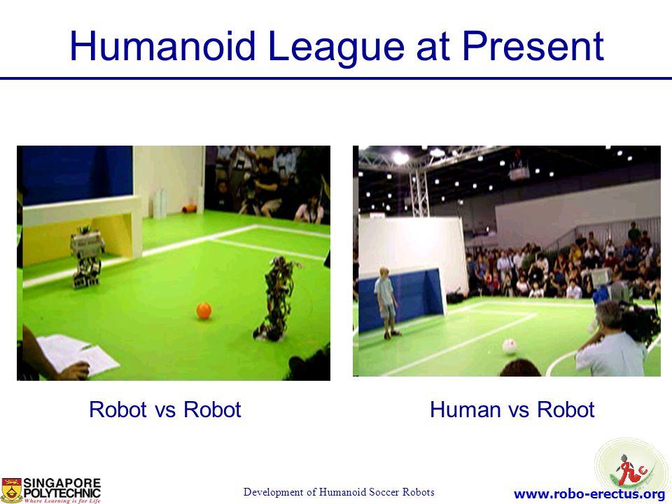 www.robo-erectus.org Development of Humanoid Soccer Robots Humanoid League at Present Robot vs RobotHuman vs Robot