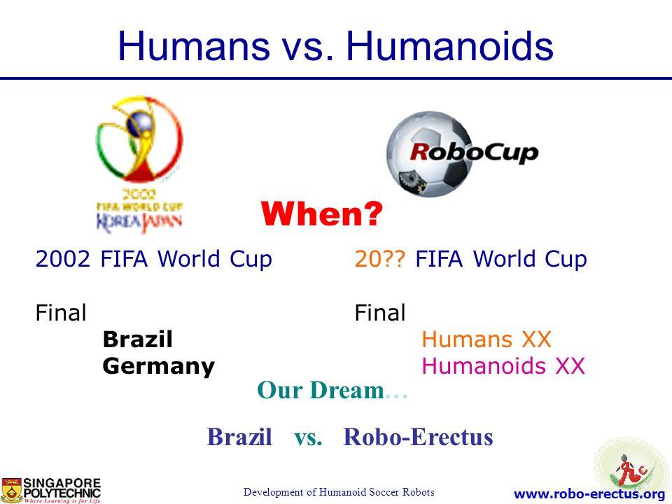www.robo-erectus.org Development of Humanoid Soccer Robots 2002 FIFA World Cup Final Brazil Germany 20?? FIFA World Cup Final Humans XX Humanoids XX W