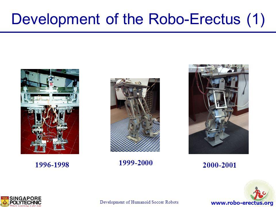 www.robo-erectus.org Development of Humanoid Soccer Robots 1996-1998 1999-2000 2000-2001 Development of the Robo-Erectus (1)