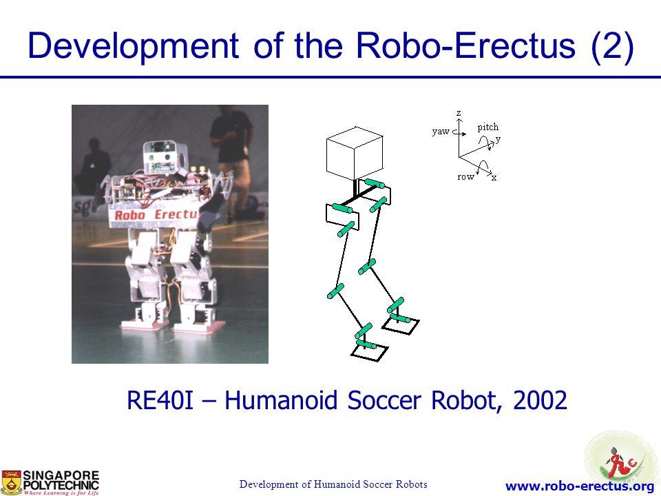 www.robo-erectus.org Development of Humanoid Soccer Robots Development of the Robo-Erectus (2) RE40I – Humanoid Soccer Robot, 2002