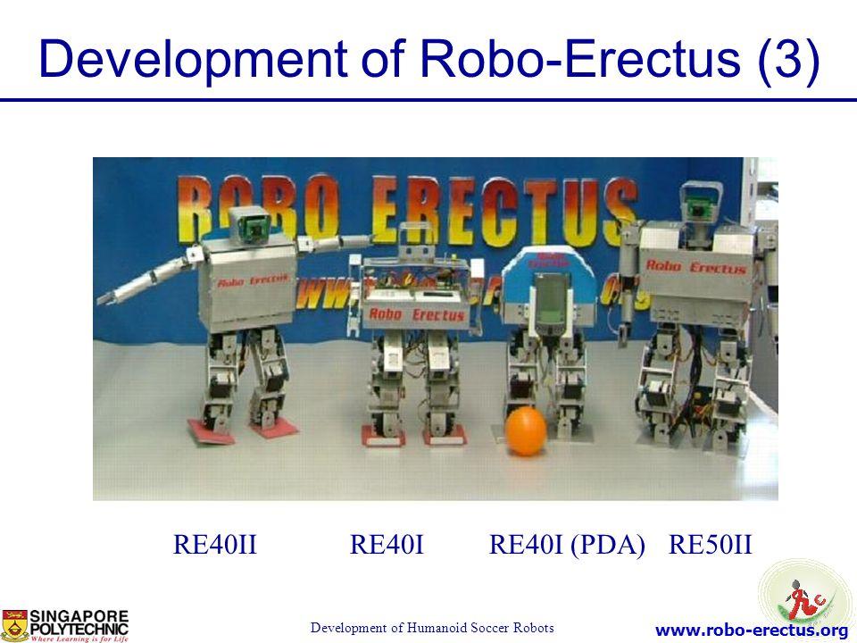 www.robo-erectus.org Development of Humanoid Soccer Robots Development of Robo-Erectus (3) RE40II RE40I RE40I (PDA) RE50II