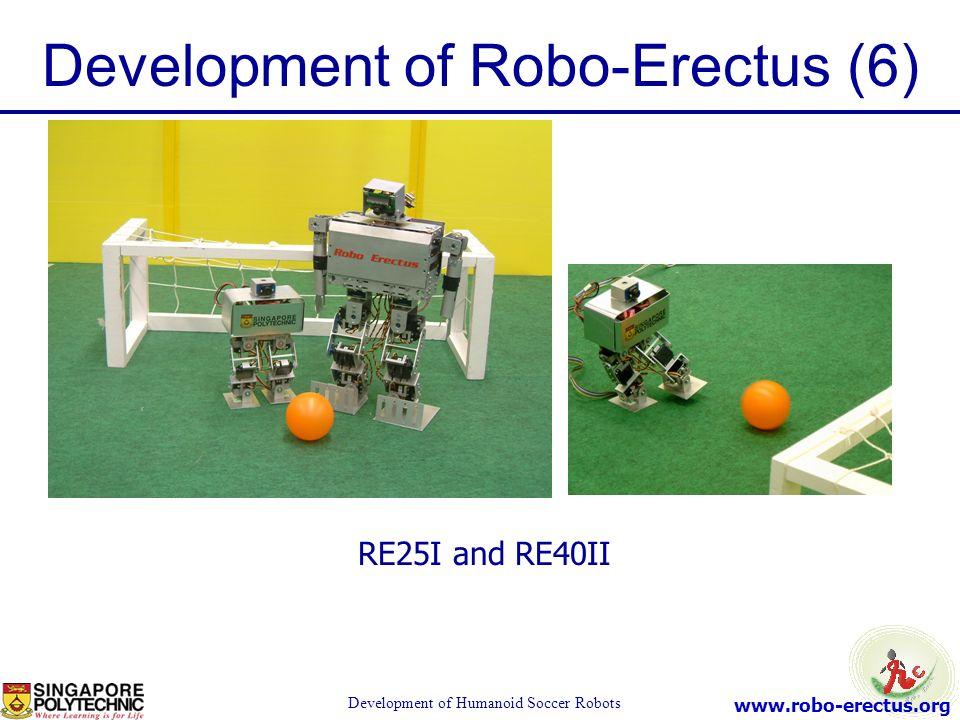 www.robo-erectus.org Development of Humanoid Soccer Robots Development of Robo-Erectus (6) RE25I and RE40II