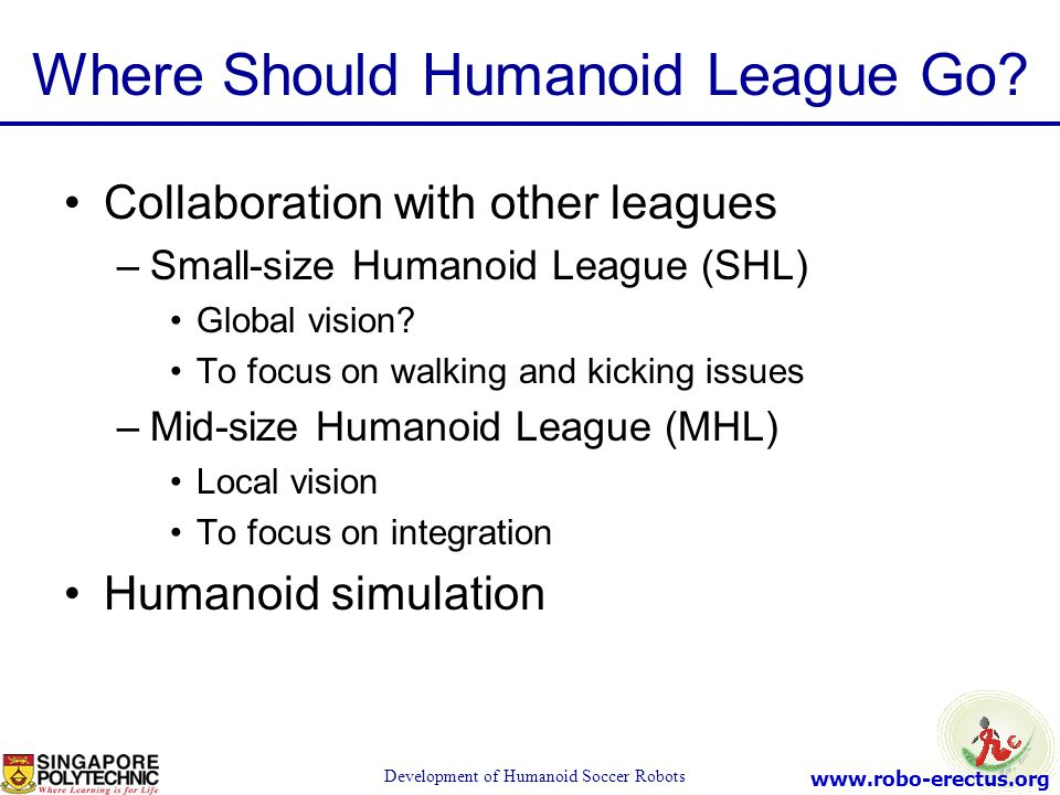 www.robo-erectus.org Development of Humanoid Soccer Robots Where Should Humanoid League Go? Collaboration with other leagues –Small-size Humanoid Leag