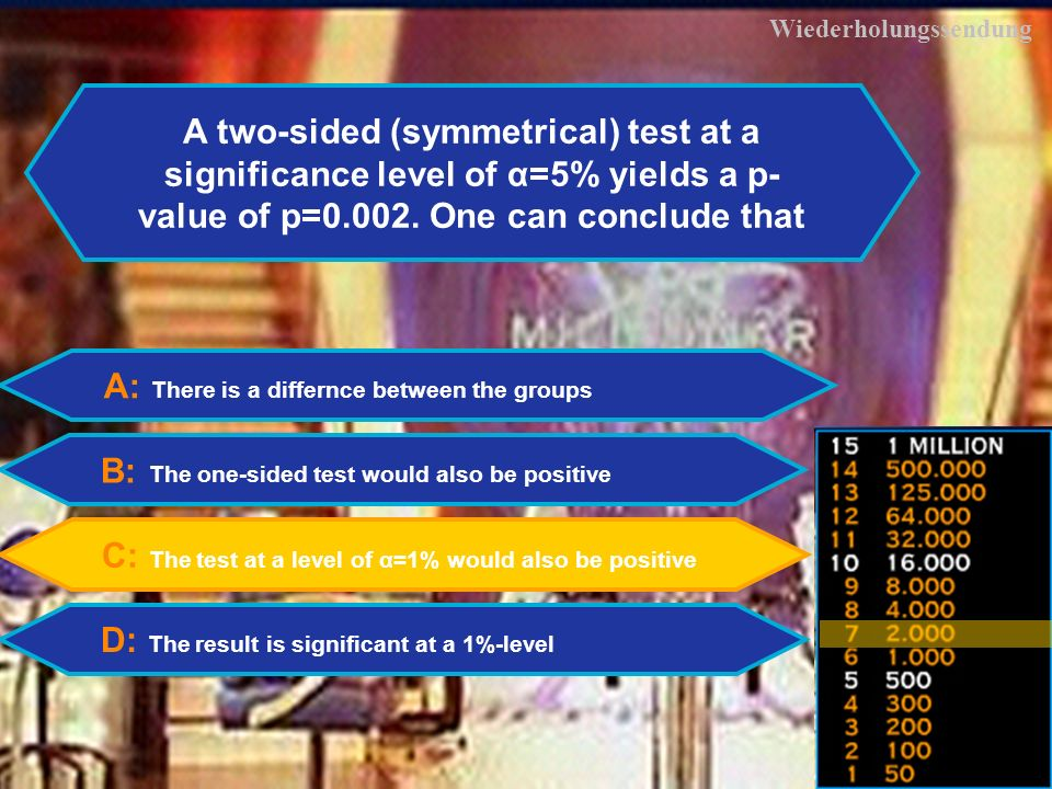 29 Wiederholungssendung A: There is a differnce between the groups B: The one-sided test would also be positive C: The test at a level of α=1% would also be positive D: The result is significant at a 1%-level A two-sided (symmetrical) test at a significance level of α=5% yields a p- value of p=0.002.