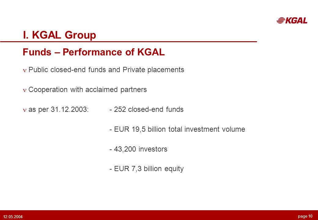 page Funds – Performance of KGAL I.
