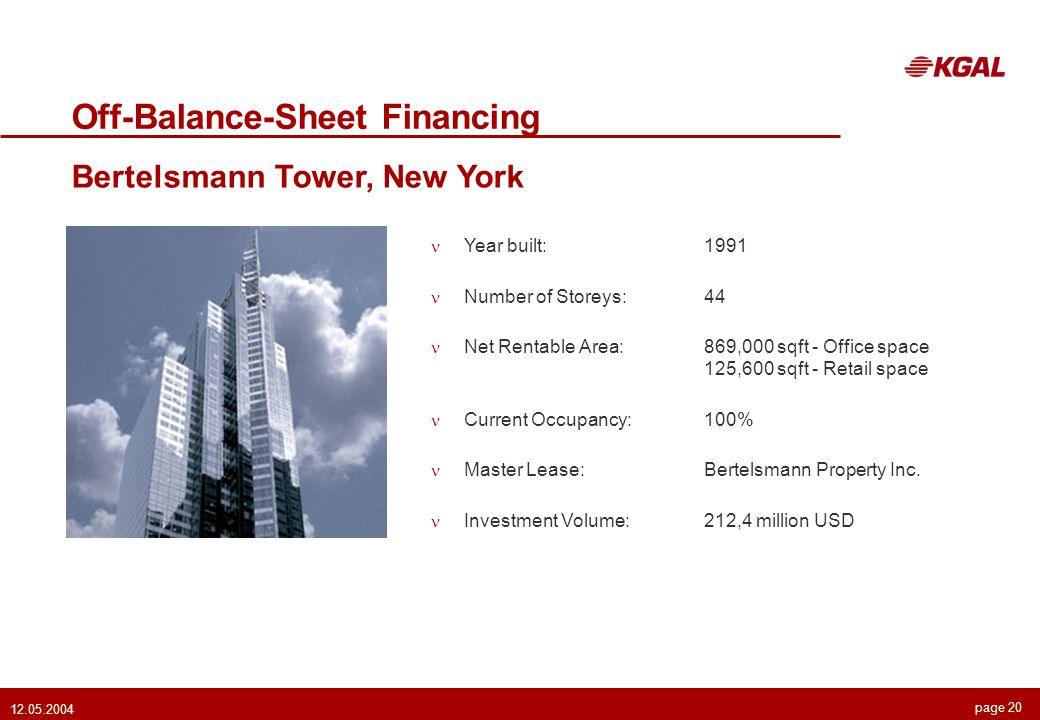 page 20 12.05.2004 Off-Balance-Sheet Financing Bertelsmann Tower, New York Year built: 1991 Number of Storeys:44 Net Rentable Area:869,000 sqft - Office space 125,600 sqft - Retail space Current Occupancy:100% Master Lease:Bertelsmann Property Inc.