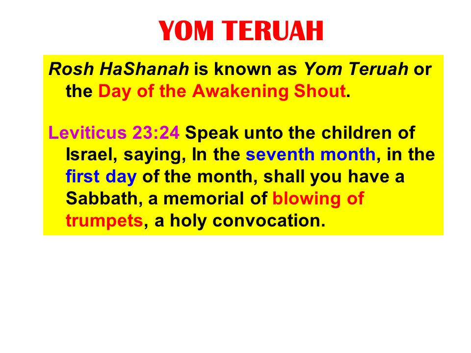 YOM TERUAH Rosh HaShanah is known as Yom Teruah or the Day of the Awakening Shout. Leviticus 23:24 Speak unto the children of Israel, saying, In the s