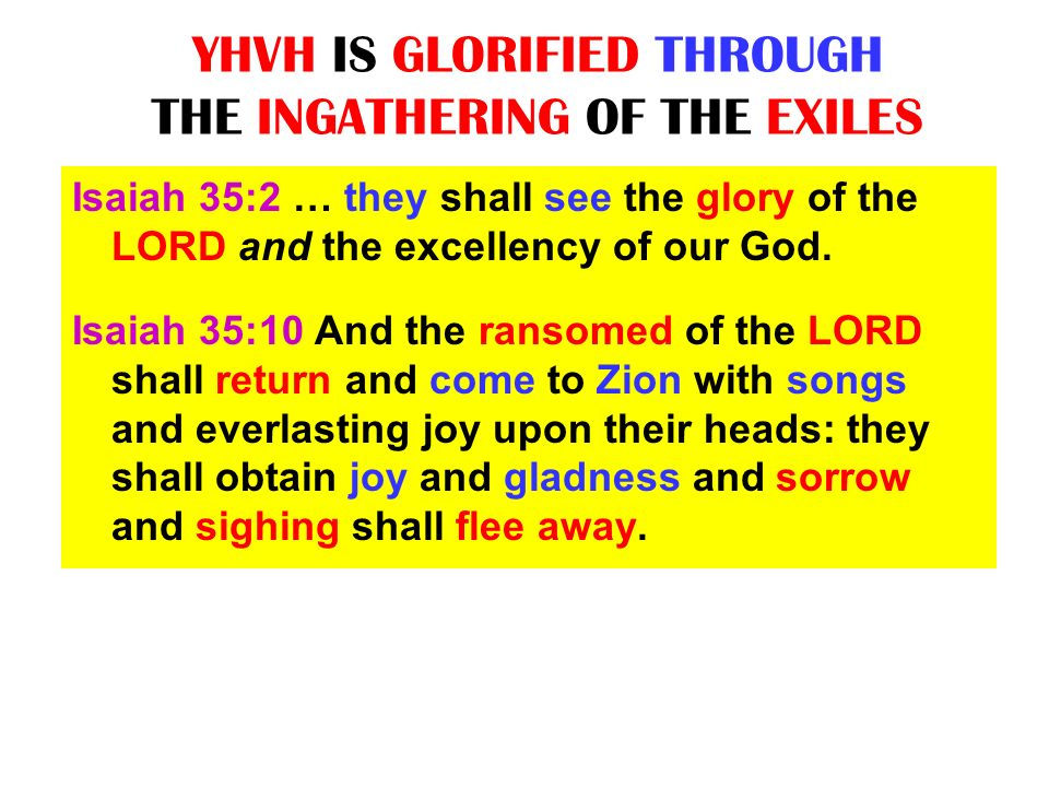 YHVH IS GLORIFIED THROUGH THE INGATHERING OF THE EXILES Isaiah 35:2 … they shall see the glory of the LORD and the excellency of our God. Isaiah 35:10