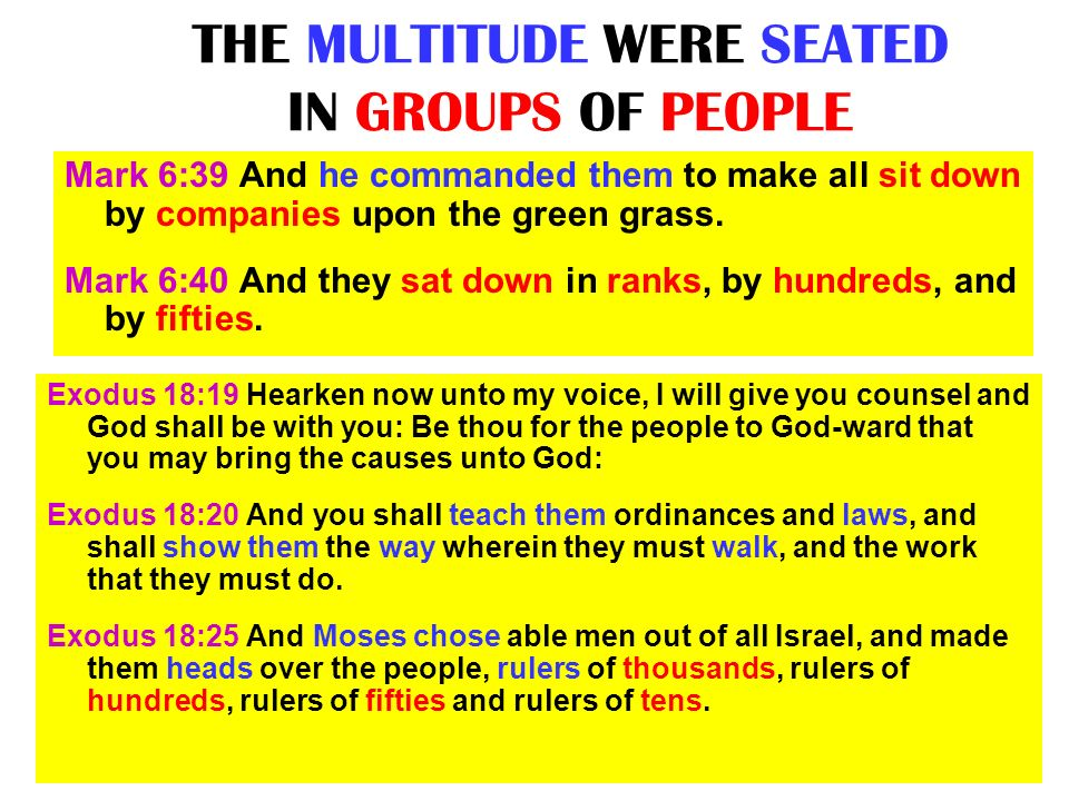 THE MULTITUDE WERE SEATED IN GROUPS OF PEOPLE Exodus 18:19 Hearken now unto my voice, I will give you counsel and God shall be with you: Be thou for t
