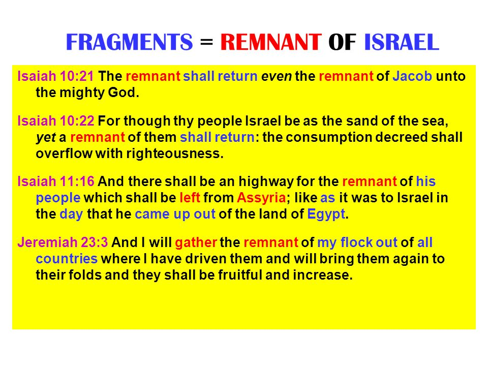 FRAGMENTS = REMNANT OF ISRAEL Isaiah 10:21 The remnant shall return even the remnant of Jacob unto the mighty God. Isaiah 10:22 For though thy people