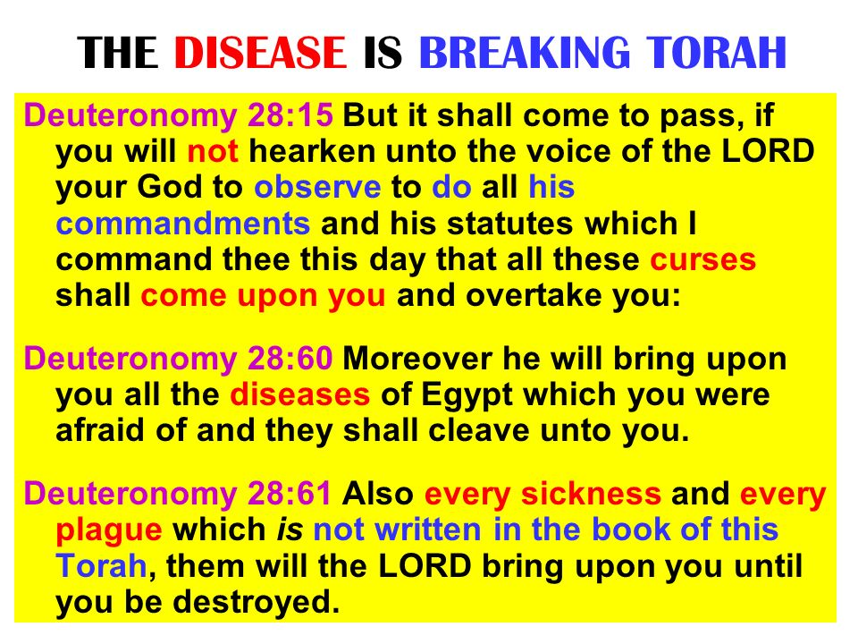 THE DISEASE IS BREAKING TORAH Deuteronomy 28:15 But it shall come to pass, if you will not hearken unto the voice of the LORD your God to observe to d