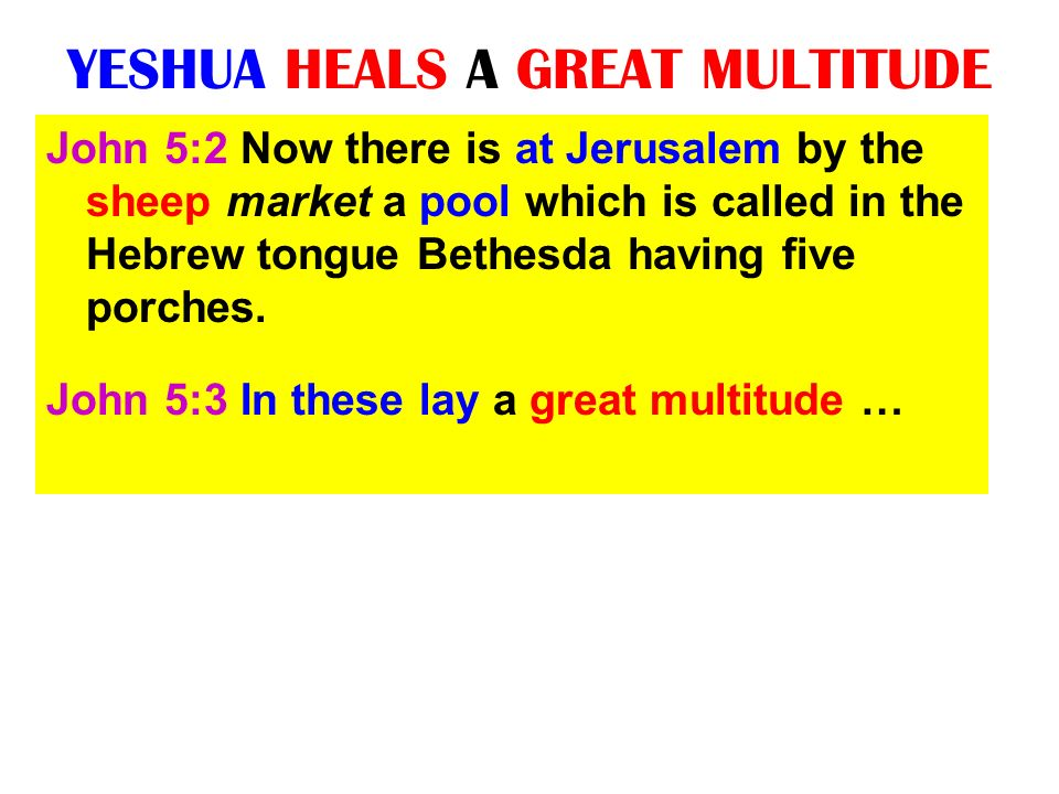 YESHUA HEALS A GREAT MULTITUDE John 5:2 Now there is at Jerusalem by the sheep market a pool which is called in the Hebrew tongue Bethesda having five