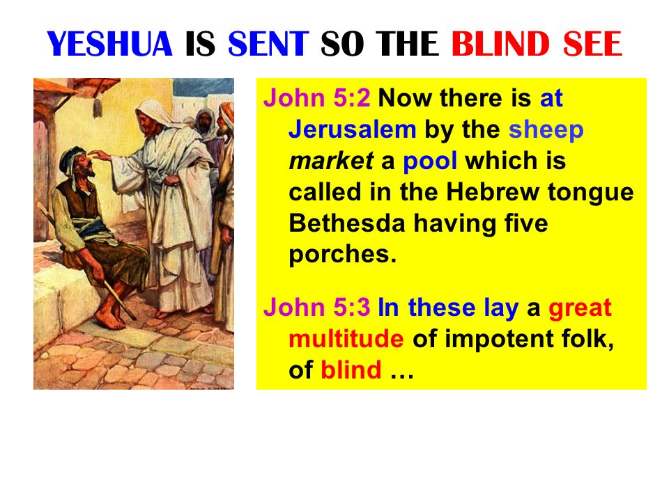 YESHUA IS SENT SO THE BLIND SEE John 5:2 Now there is at Jerusalem by the sheep market a pool which is called in the Hebrew tongue Bethesda having fiv