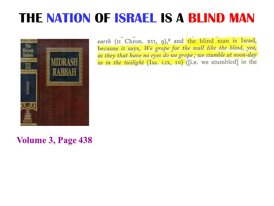 THE NATION OF ISRAEL IS A BLIND MAN Volume 3, Page 438