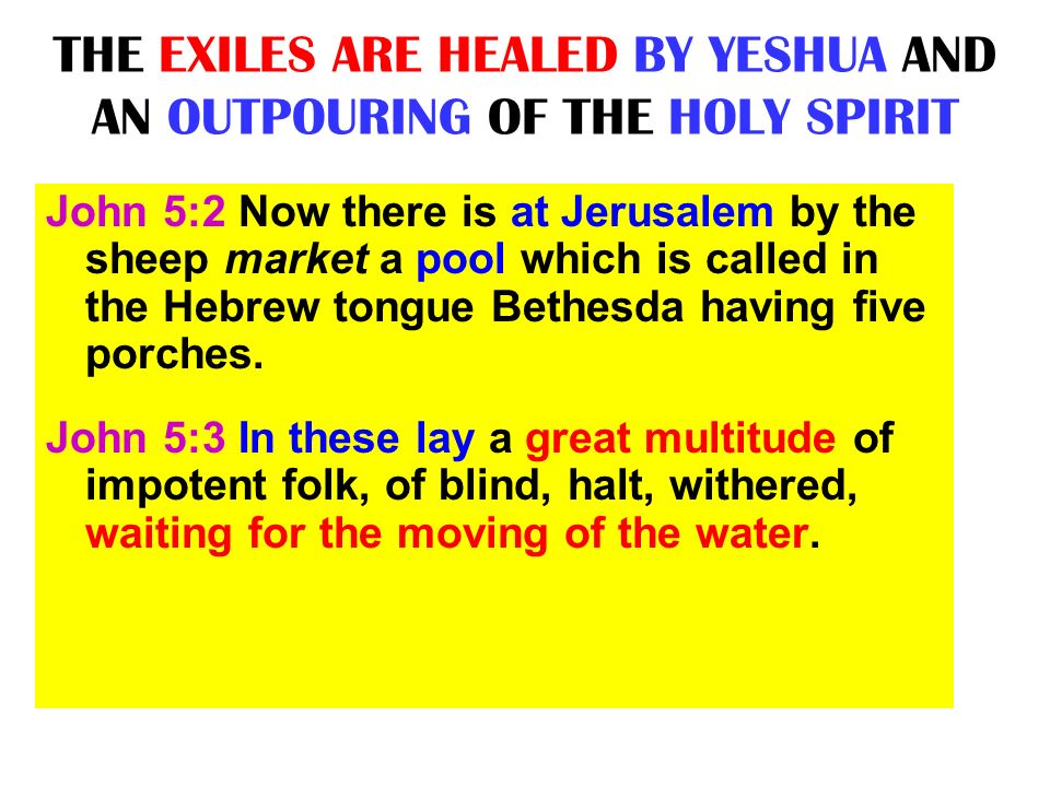 THE EXILES ARE HEALED BY YESHUA AND AN OUTPOURING OF THE HOLY SPIRIT John 5:2 Now there is at Jerusalem by the sheep market a pool which is called in