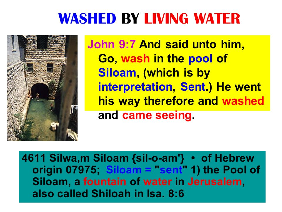 WASHED BY LIVING WATER John 9:7 And said unto him, Go, wash in the pool of Siloam, (which is by interpretation, Sent.) He went his way therefore and w