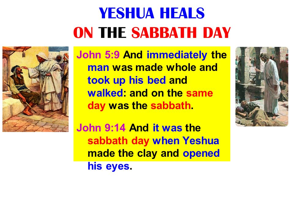 YESHUA HEALS ON THE SABBATH DAY John 5:9 And immediately the man was made whole and took up his bed and walked: and on the same day was the sabbath. J