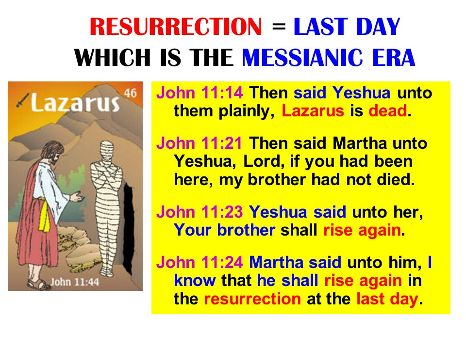 RESURRECTION = LAST DAY WHICH IS THE MESSIANIC ERA John 11:14 Then said Yeshua unto them plainly, Lazarus is dead. John 11:21 Then said Martha unto Ye