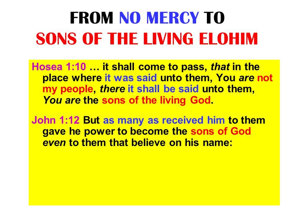 FROM NO MERCY TO SONS OF THE LIVING ELOHIM Hosea 1:10 … it shall come to pass, that in the place where it was said unto them, You are not my people, t