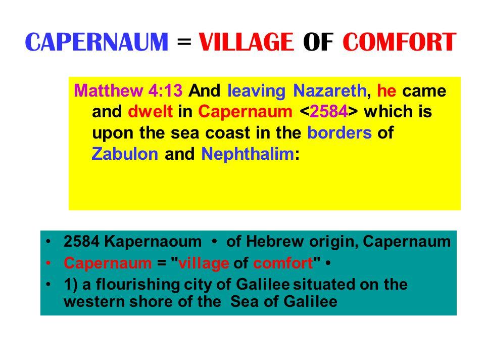CAPERNAUM = VILLAGE OF COMFORT 2584 Kapernaoum of Hebrew origin, Capernaum Capernaum =