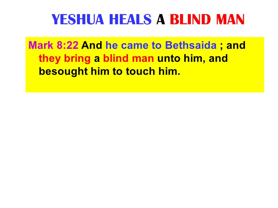 YESHUA HEALS A BLIND MAN Mark 8:22 And he came to Bethsaida ; and they bring a blind man unto him, and besought him to touch him.