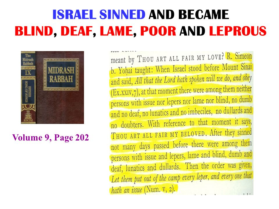 ISRAEL SINNED AND BECAME BLIND, DEAF, LAME, POOR AND LEPROUS Volume 9, Page 202