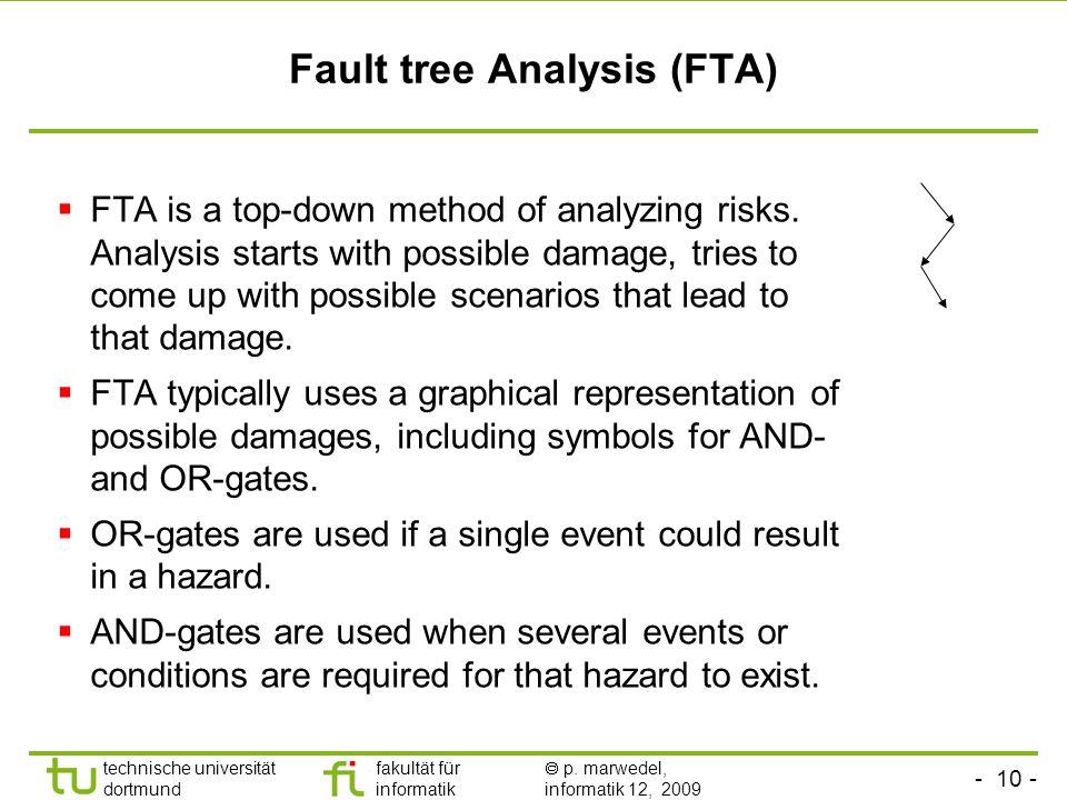 - 10 - technische universität dortmund fakultät für informatik p. marwedel, informatik 12, 2009 Fault tree Analysis (FTA) FTA is a top-down method of