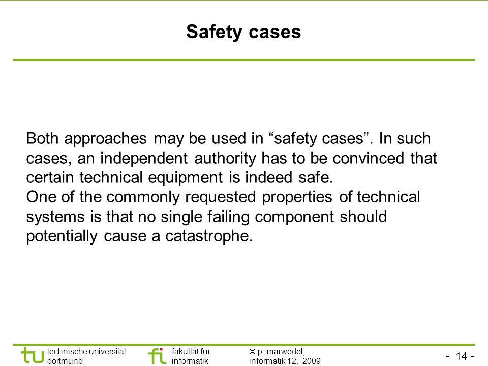 - 14 - technische universität dortmund fakultät für informatik p. marwedel, informatik 12, 2009 Safety cases Both approaches may be used in safety cas