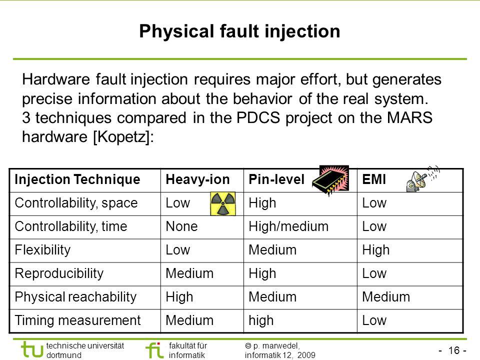 - 16 - technische universität dortmund fakultät für informatik p. marwedel, informatik 12, 2009 Physical fault injection Hardware fault injection requ