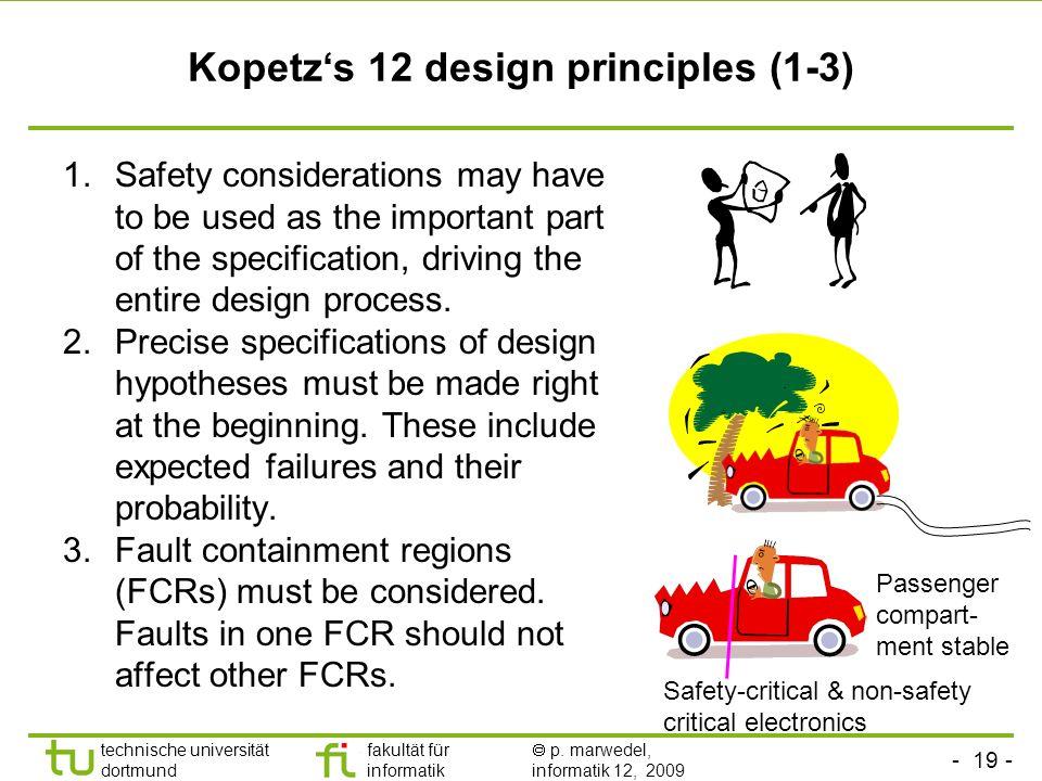 - 19 - technische universität dortmund fakultät für informatik p. marwedel, informatik 12, 2009 Kopetzs 12 design principles (1-3) 1.Safety considerat