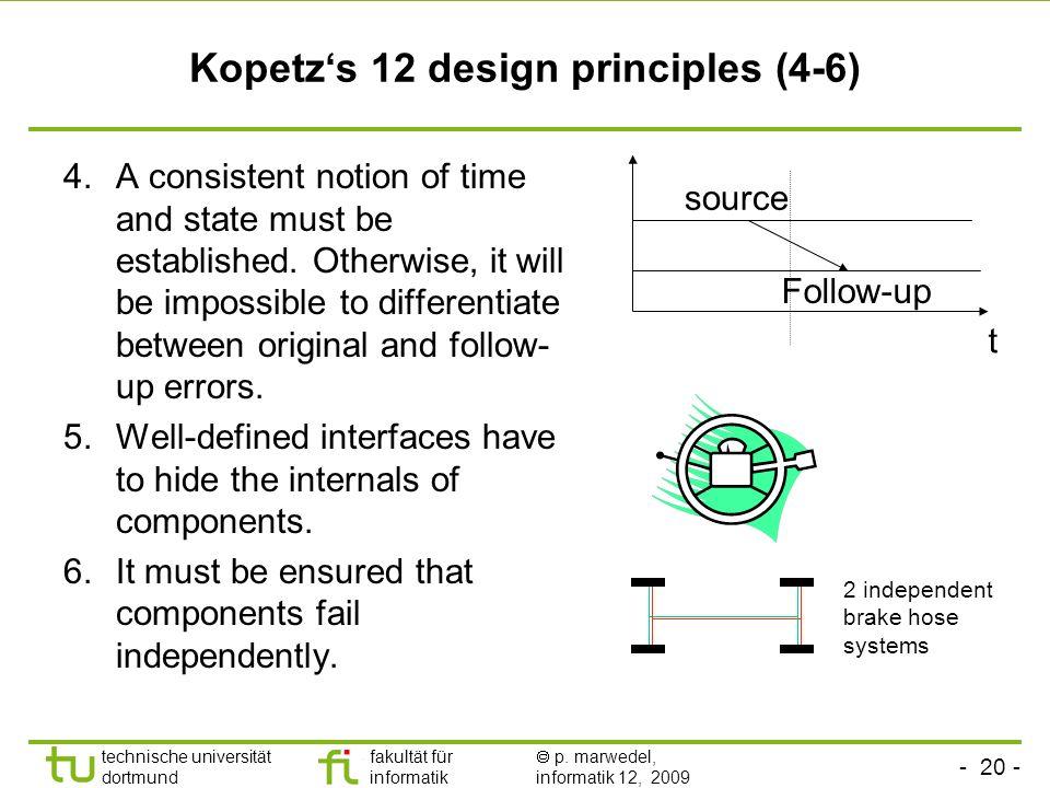 - 20 - technische universität dortmund fakultät für informatik p. marwedel, informatik 12, 2009 Kopetzs 12 design principles (4-6) 4.A consistent noti