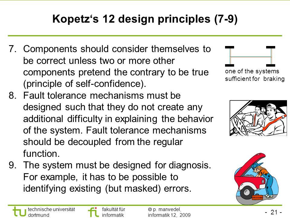 - 21 - technische universität dortmund fakultät für informatik p. marwedel, informatik 12, 2009 Kopetzs 12 design principles (7-9) 7.Components should