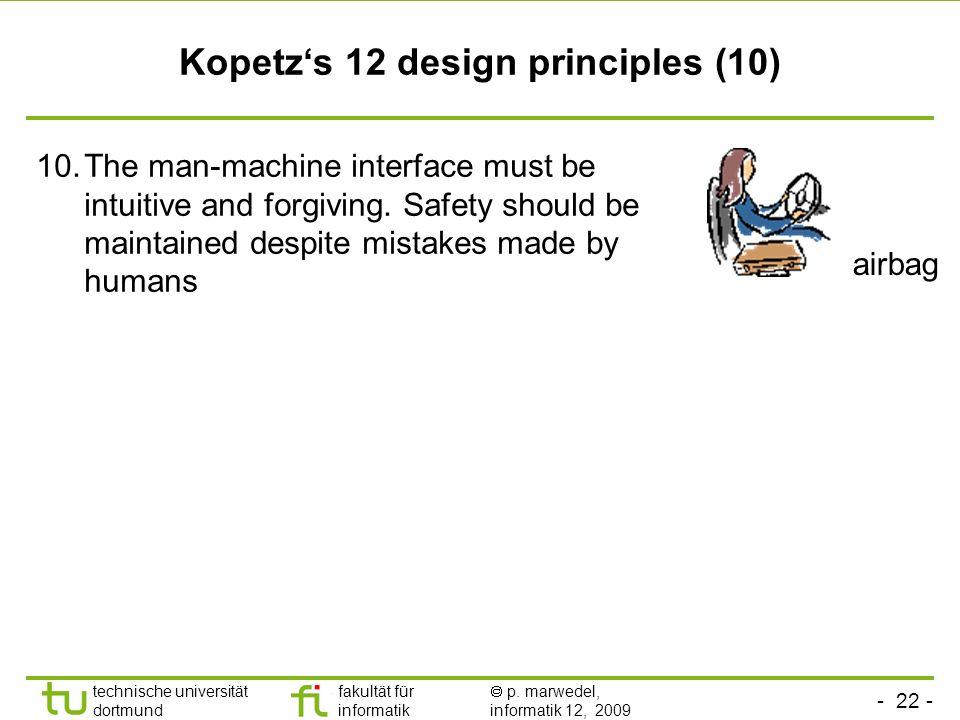 - 22 - technische universität dortmund fakultät für informatik p. marwedel, informatik 12, 2009 Kopetzs 12 design principles (10) 10.The man-machine i