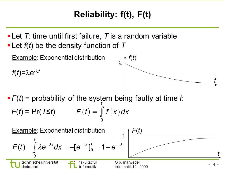 - 4 - technische universität dortmund fakultät für informatik p. marwedel, informatik 12, 2009 Let T: time until first failure, T is a random variable