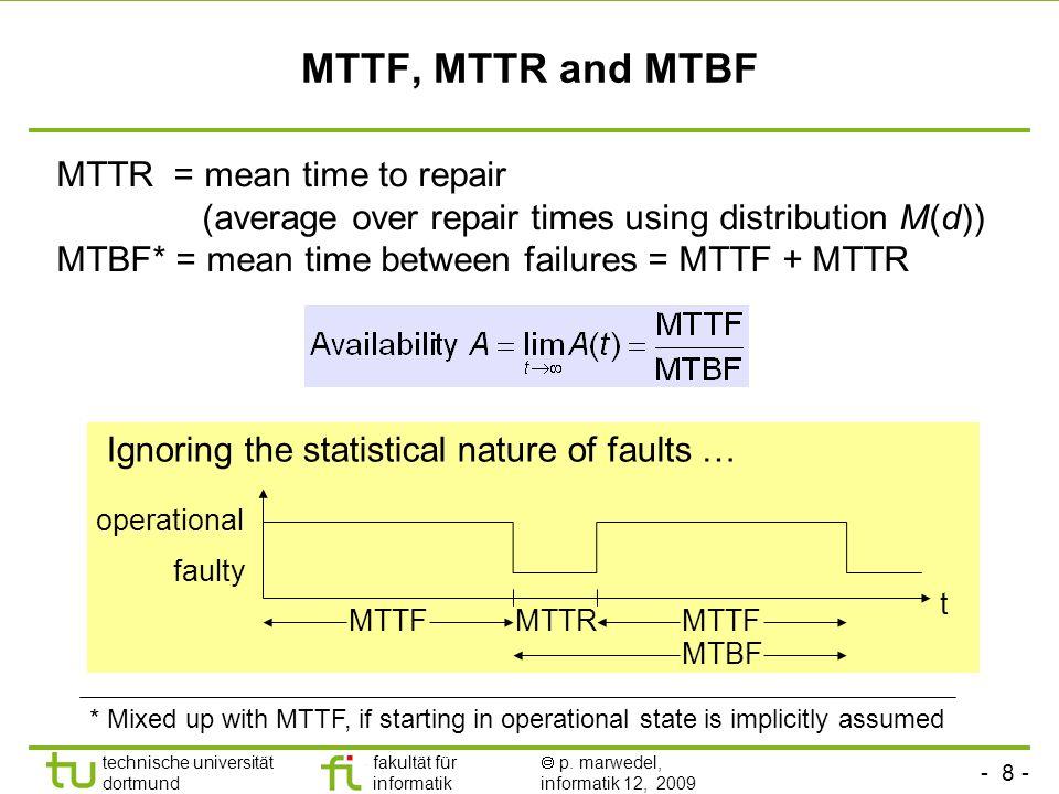 - 8 - technische universität dortmund fakultät für informatik p. marwedel, informatik 12, 2009 MTTF, MTTR and MTBF Ignoring the statistical nature of
