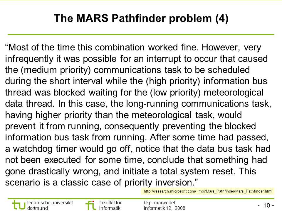 - 10 - technische universität dortmund fakultät für informatik p. marwedel, informatik 12, 2008 TU Dortmund The MARS Pathfinder problem (4) Most of th