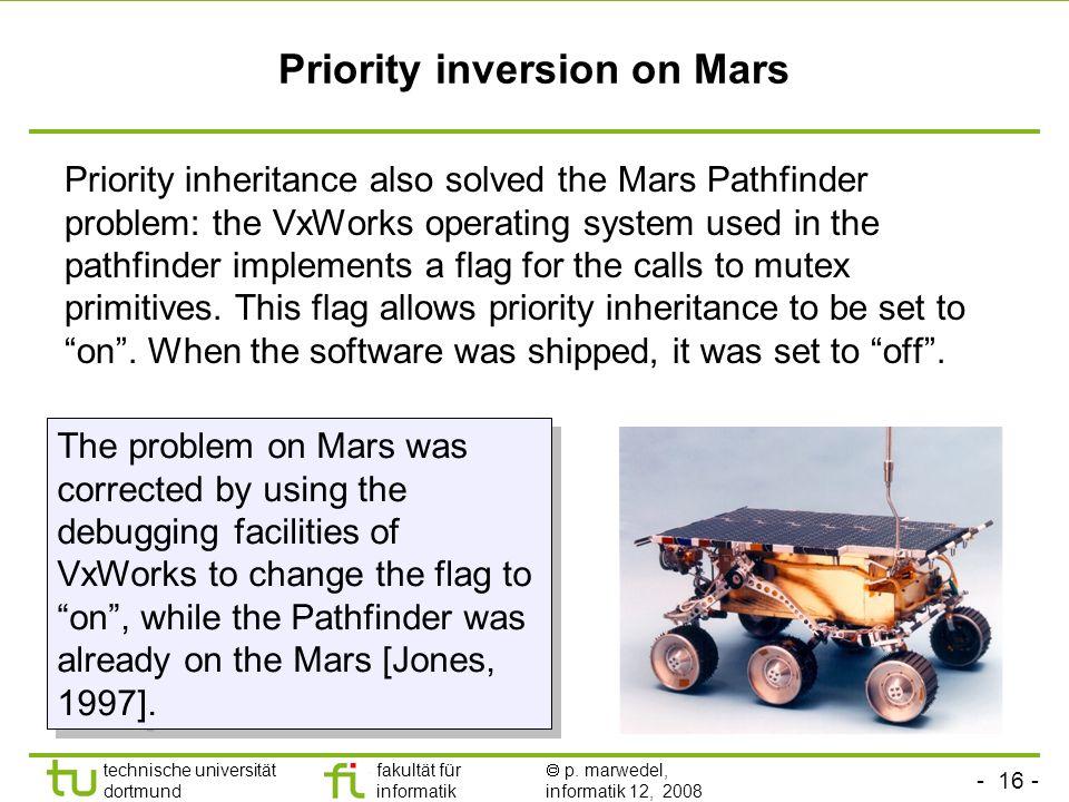 - 16 - technische universität dortmund fakultät für informatik p. marwedel, informatik 12, 2008 TU Dortmund Priority inversion on Mars Priority inheri