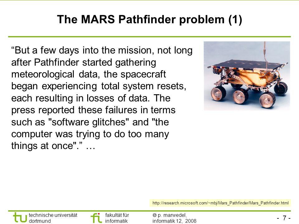 - 7 - technische universität dortmund fakultät für informatik p. marwedel, informatik 12, 2008 TU Dortmund The MARS Pathfinder problem (1) But a few d