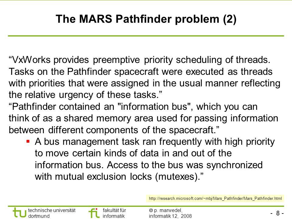 - 8 - technische universität dortmund fakultät für informatik p. marwedel, informatik 12, 2008 TU Dortmund The MARS Pathfinder problem (2) VxWorks pro