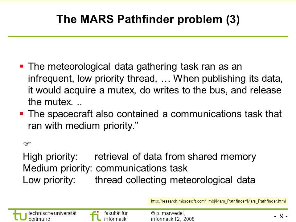 - 9 - technische universität dortmund fakultät für informatik p. marwedel, informatik 12, 2008 TU Dortmund The MARS Pathfinder problem (3) The meteoro