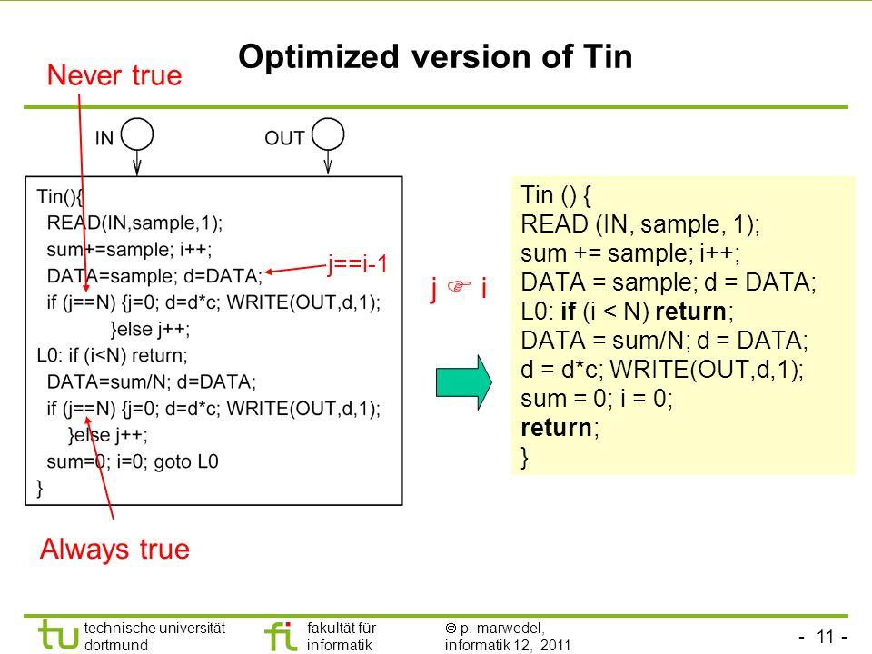 - 11 - technische universität dortmund fakultät für informatik p. marwedel, informatik 12, 2011 Optimized version of Tin Tin () { READ (IN, sample, 1)