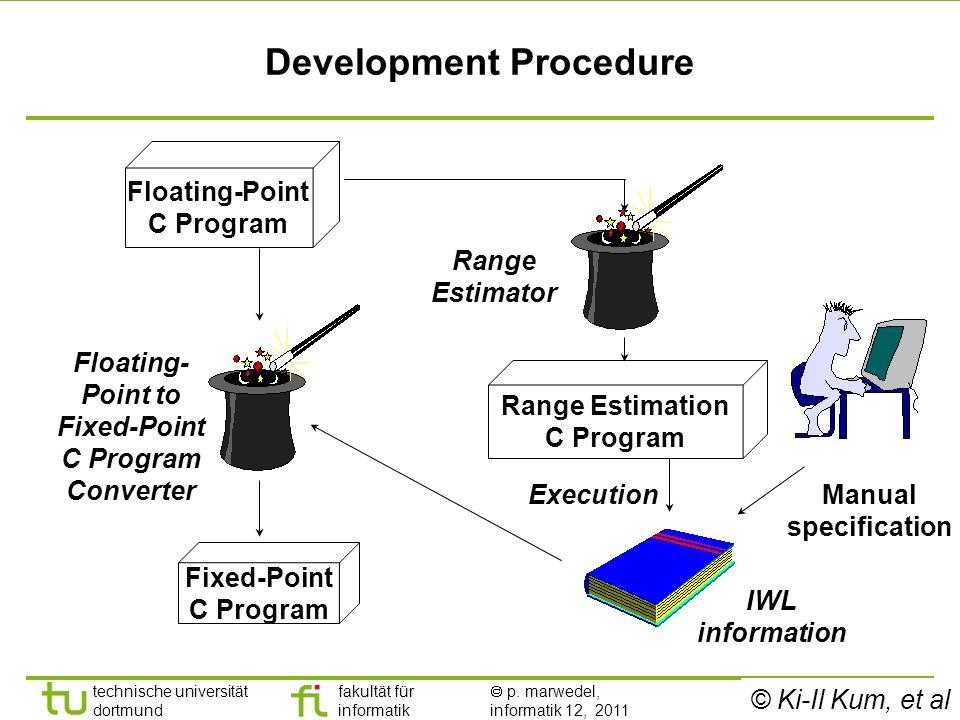- 14 - technische universität dortmund fakultät für informatik p. marwedel, informatik 12, 2011 Development Procedure Range Estimation C Program Execu