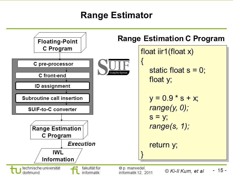 - 15 - technische universität dortmund fakultät für informatik p. marwedel, informatik 12, 2011 Range Estimator C pre-processor C front-end ID assignm