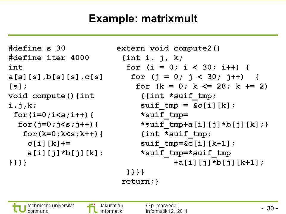 - 30 - technische universität dortmund fakultät für informatik p. marwedel, informatik 12, 2011 Example: matrixmult #define s 30 #define iter 4000 int