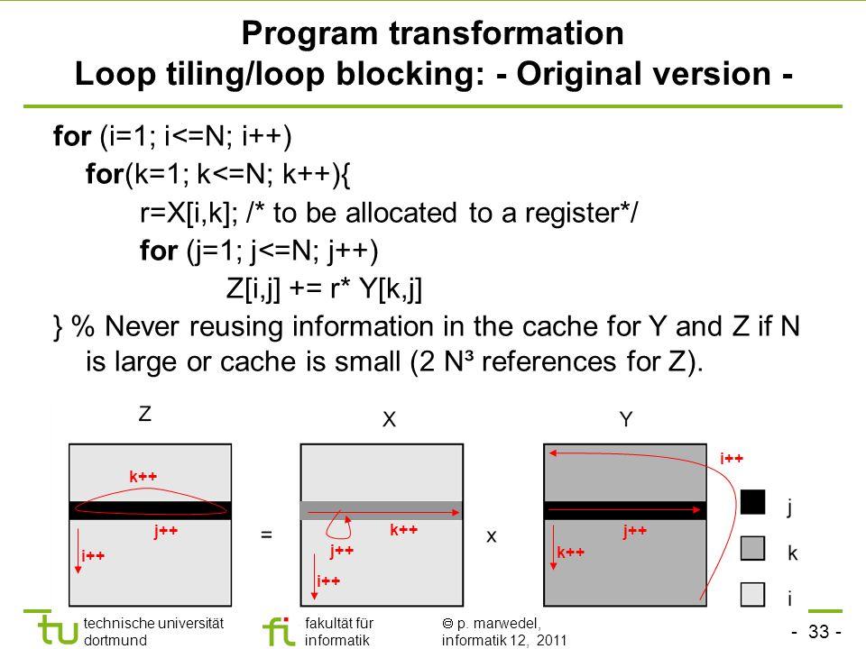 - 33 - technische universität dortmund fakultät für informatik p. marwedel, informatik 12, 2011 Program transformation Loop tiling/loop blocking: - Or