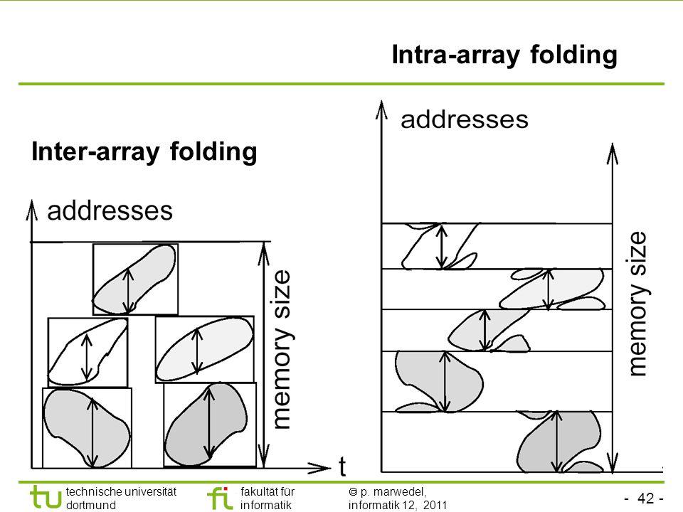 - 42 - technische universität dortmund fakultät für informatik p. marwedel, informatik 12, 2011 Inter-array folding Intra-array folding